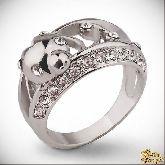 Кольцо с кристаллами Сваровски IR0129, размер 16,5, 17,5, 18
