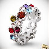Кольцо с кристаллами Сваровски IR0162, размер 18,0