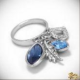 Кольцо с кристаллами Сваровски IR0163, размер 18,0