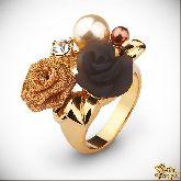 Кольцо с кристаллами Сваровски IR0187G, размер 16,5, 17