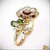 Кольцо с кристаллами Сваровски IR0191G, размер 17,5-18,5