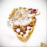 Кольцо с кристаллами Сваровски IR0200G, размер 18,0