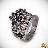 Кольцо с кристаллами Сваровски IR0201R, размер 16,5, 17,5, 18