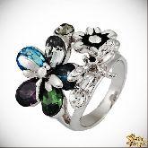 Кольцо с кристаллами Сваровски IR0223R, размер 17,0