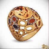 Кольцо с кристаллами Сваровски IR0251G, размер 18,0