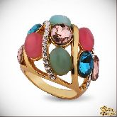 Кольцо с кристаллами Сваровски IR0255G, размер 16,5, 17, 17,5, 18, 18,5