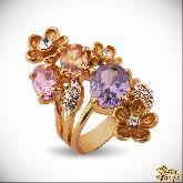 Кольцо с кристаллами Сваровски IR0256G, размер 16,5, 17, 17,5, 18