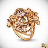 Кольцо с кристаллами Сваровски IR0261G, размер 17,0