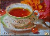 Чашка с чаем, картина, Модерн натюрморт №6