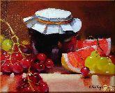 Банка варенья и фрукты, картина, Модерн натюрморт №9