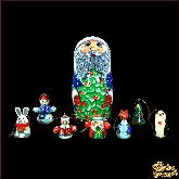 """Деревянная игрушка Матрёшка-набор """"Дед мороз с ёлкой"""""""