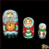 """Деревянная игрушка Матрёшка """"Дед Мороз с часами"""""""