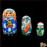 """Деревянная игрушка Матрёшка """"Снегурочка с птичкой"""""""