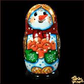 """Деревянная игрушка Матрёшка """"Снеговик с апельсинами"""""""