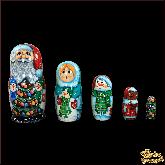 """Деревянная игрушка Матрёшка """"Дед Мороз со снеговиками"""""""