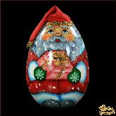 """Деревянная игрушка Неваляшка """"Дед мороз с коробкой"""""""