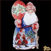 """Резная статуэтка из дерева """"Дед мороз с оленем"""""""