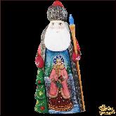 """Резная статуэтка из дерева """"Дед мороз с ёлкой"""""""