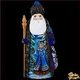 """Резная статуэтка из дерева """"Дед мороз с мешком"""""""