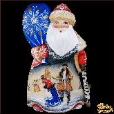 """Резная статуэтка из дерева """"Дед мороз зимняя деревня"""""""