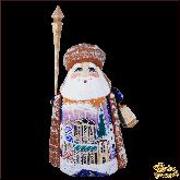 """Резная статуэтка из дерева """"Дед мороз с церковью"""""""