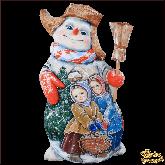 """Резная статуэтка из дерева """"Снеговик с метлой"""""""
