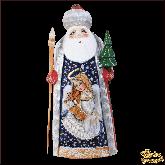"""Резная статуэтка из дерева """"Дед мороз с ангелом"""""""