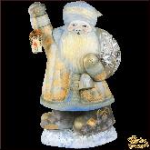 """Резная статуэтка из дерева """"Дед мороз с фонариком"""""""