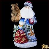 """Резная статуэтка из дерева """"Дед мороз с медведем"""""""