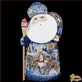 """Резная статуэтка из дерева """"Дед мороз с посохом"""""""