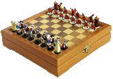 Шахматы мини с фигурами из олова покрашенными в сувенирном качестве