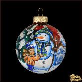 Ёлочный шар ручной работы Снеговик и мальчик
