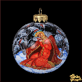 Ёлочный шар ручной работы Снегурочка и снегирь в стиле палех