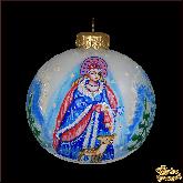Ёлочный шар ручной работы Снегурочка в стиле палех