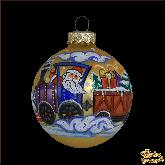 Ёлочный шар ручной работы Новогодний поезд