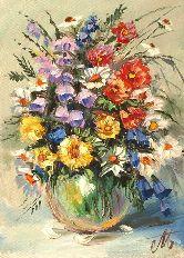 """Картина на холсте """"Полевые цветы в вазе"""""""