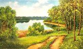 """Картина на холсте """"Лесная дорога на озеро"""""""