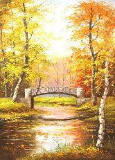 """Картина на холсте """"Осенняя речка"""""""