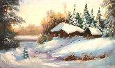 """Картина на холсте """"Дом в зимнем лесу"""""""