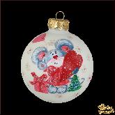 Ёлочный шар ручной работы Мышка с сердцем