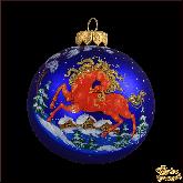Ёлочный шар ручной работы Конь в стиле палех