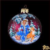 Ёлочный шар ручной работы Снегурочка в лесу в стиле палех