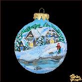 Ёлочный шар ручной работы Зимний пейзаж 3