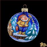 Ёлочный шар ручной работы Гномик с подарками