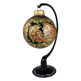 Ёлочный шар ручной работы на подставке Райская птица