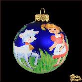 Ёлочный шар ручной работы Девочка с козленком