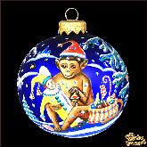 Ёлочный шар ручной работы 80 мм Обезьянка с подарками