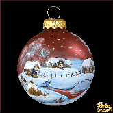 Ёлочный шар ручной работы Зимняя пора в деревне