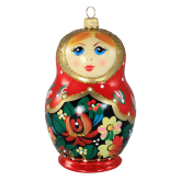 Ёлочная игрушка из Польши Матрешка жостово большая