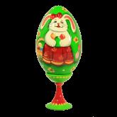 Пасхальное яйцо деревянное с наклейкой  Пасхальный кролик